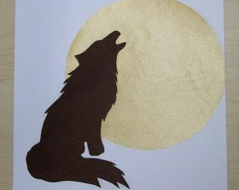 native american, brown satin wolf applique