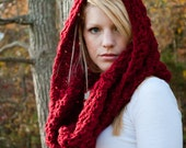 RESERVED for ELENA - Red Riding Hood Chunky Cowl Hood Neckwarmer - Dark Crimson  deep red - large