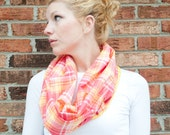 infinity scarf cowl - coral plaid - reversible - lightweight cotton lace