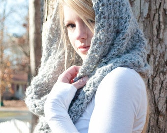 the CHARLOTTE cowl - Chunky Cowl Scarf Shawl Hood - Silver Grey - limited