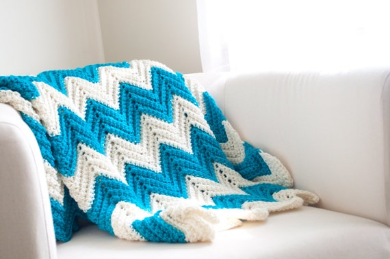 RESERVED for RYANNE - Chevron Stripe Zigzag Blanket Turquoise/White  Crib/Small