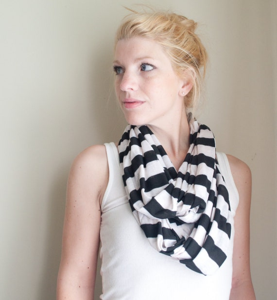 infinity scarf cowl - black striped - lightweight jersey knit