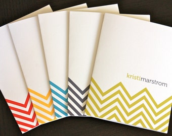 Chevron personalized note cards (8) - stationery - modern zig zag pattern - eco friendly recycled paper
