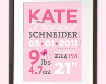 Baby Birth Announcement art print for nursery, birth date, weight, name, length, time