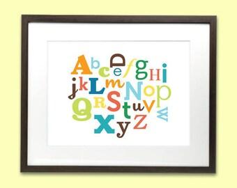 Alphabet art print poster for baby nursery or kids room - 8 x 10 - 4 colour choices