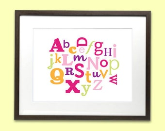 Alphabet art print poster for baby nursery or kids room - 8 x 10 - pink, purple, orange & green
