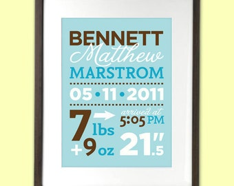 Personalized Birth Stats Announcement art print for baby nursery wall 8 x 10