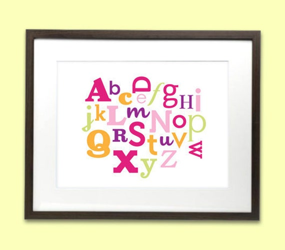 Alphabet art print poster for baby nursery or kids room - 8 x 10 - pink, purple, orange & green
