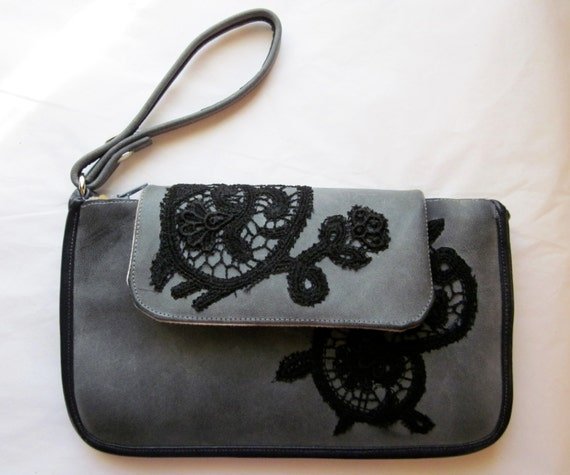 Black Lace & Grey Leather Clutch with Plum Accents and Neutral Patterned Lining