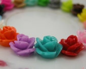 30 Pcs Multi Colored Small Flower Cabochons Flowers Mini  Roses 10mm (M021)