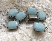 4 Pcs Jewel Charm Opaque Light BlueDrop Gem Jewels Rectangle Blue