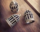 4 - Birdcage Charms Antique Bronze Birdcage Bird Cage Vintage Style Pendant Charm Jewelry Supplies (BB175)
