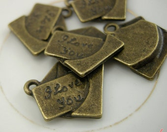 5 Pcs Love Letter Charms Antique Bronze Love Letter Charm I Love You Small Love Vintage Style Pendant Charm Jewelry Supplies  A010