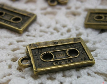 Cassette Tape Charms Antique Bronze Cassette Charm Tape Charm Music Small Charm 90s Vintage Style Pendant Charm Jewelry Supplies(A019)