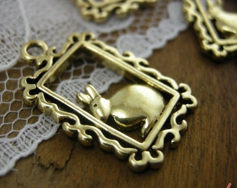 Framed Rabbit Charms Golden Charm Bunny Charms Alice in Wonderland Charm Vintage Style Pendant Charm Jewelry Supplies  X017