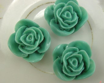 6 Pcs Vintage Style Spearamint Green Plastic Rose Cabochon flowers Resin Roses 22x22x12mm