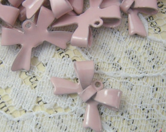 8 - Bow Charms, LIGHT PINK Enamel Coated Brass, Small Bow Tie, Vintage Jewelry Supplies (L022)
