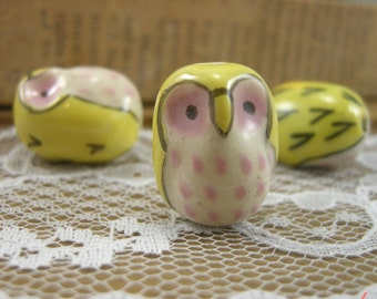 4 - Owl Beads, HAND PAINTED Porcelain in Yellow and Pink, Small Owl, Vintage Jewelry Supplies