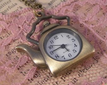 1 Pc  Vintage Teapot Pocket Watch Necklace Chain Included Pendant Antique Bronze (BB044)