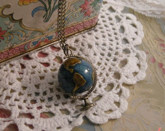 1 - World Globe Necklace, Antique Bronze with Blue and Brown Enamel, Really SPINS, Vintage Necklace Pendant (BB058)