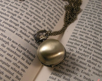 1 pc Vintage Style Round Pocket Watch Necklace Pendant Chain Included Ball Sphere Snitch (BB021)