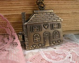 1 Pc House Cottage Dollhouse Pendant Charm Necklace Locket OPENS Antique Bronze Vintage Style (BB059)