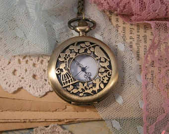 1 Pc Large Pocket Watch with Birdcage and Bird Necklace Vintage Style Victorian Engravings Pocketwatch CHAIN INCLUDED  (BB023)