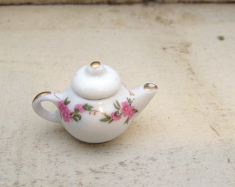 1 - Mini Teapot Charm, White Porcelain, Pink Floral Pattern, Alice in Wonderland, Vintage Jewelry Supplies (AV053)