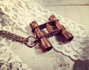 1 pc Vintage Style Binocular Pendant Charm Necklace Nautical Antique BRONZE Chain INCLUDED (BA032)