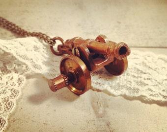 1 pc Vintage Style Cannon Pendant Battle Necklace Pendant Nautical Antique Brass Bronze CHAIN INCLUDED (BA016)