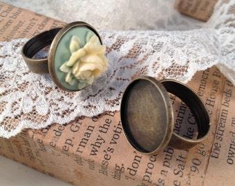 4 pcs ring base setting Antique Bronze Ornate Vintage style Ring base Jewelry supplies (DA185)