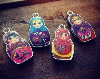 4 Pcs Small Retro Resin Matryoshka Doll Charms Multi Color Charms Silver Nesting Doll Dolls Russian Doll Ornate (T019 - T022)