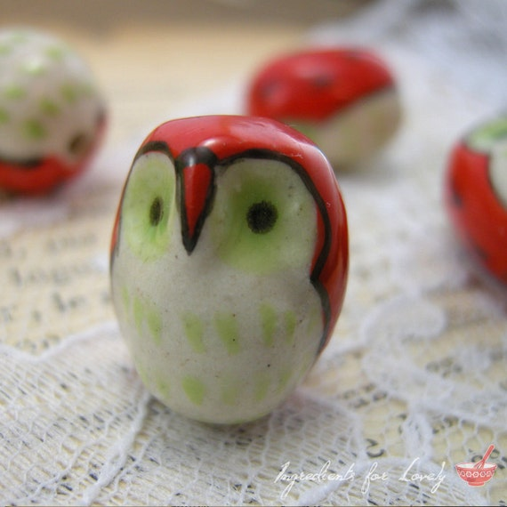 4 - Owl Beads, HAND PAINTED Porcelain in Red and Green, Small Owl, Vintage Jewelry Supplies BB011