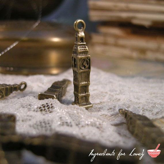 Clock Tower Charms Antique Bronze Clock Tower Charm Big Ben Charm Clock Charm Small Vintage Style Pendant Jewelry Supplies (BB140)