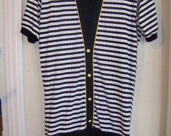 1980s Womens Black and White Striped  Dress  / Size 12