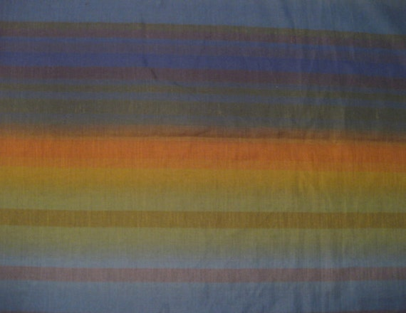60s Sheer Vintage Ombre Striped Fabric- Blues and Greens