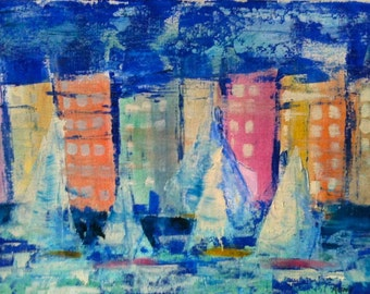 Cityscape Abstract Painting yachts original pastel colours