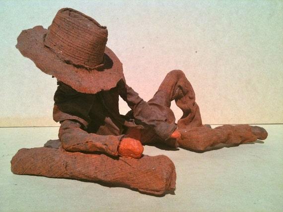 Garden Sculpture Australian Bushman brown indoor,outdoors