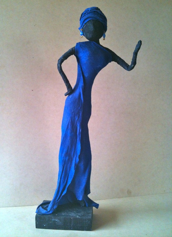 Sculpture for Garden Royal Blue Figure indoor,outdoors 56cm,22""