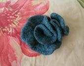Asymmetrical Teal Knitted Felt Pin