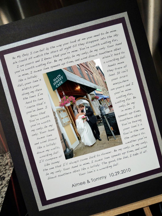 Personalized Wedding Photo Mat to Frame with Your Song Lyrics, Vows, Poem, etc. Great bridal shower gift, anniversary gift, or parent gift