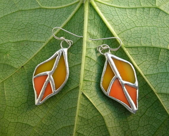 Stained glass leaf earrings- Autumn colors