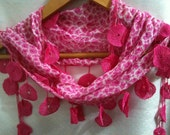Pink Summer Scarf Beautiful Pattern Lace Ends