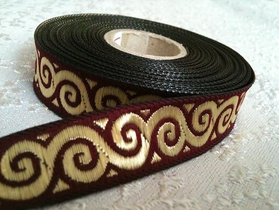 """2 Yards Jacquard Satin Ribbon Trim - Metallic Gold Pattern on Claret Red - 3/5"""" wide"""