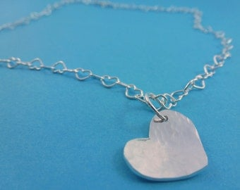 Silver Heart Necklace - Sterling Solid Silver Heart Pendant Link Chain Handmade