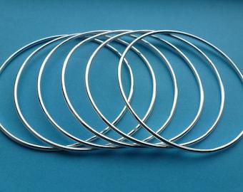 Sterling Silver Bangle - Handmade Solid Sterling Silver 925 Stacking Plain Round Bangles Bracelet