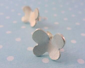 Silver Butterfly Earrings - Solid Sterling Silver 925 Butterfly Ear Studs Handmade