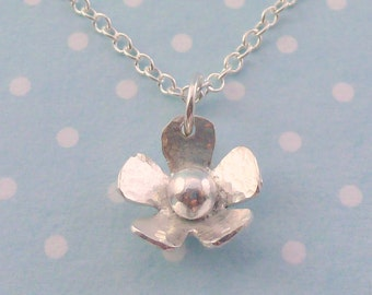 Silver Flower Necklace - Solid Sterling Silver 925 Daisy Pendant Charm Necklace Handmade