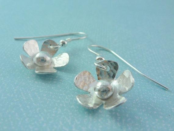 Silver Flower Earrings - Solid Sterling Silver 925 Daisy Flower Ear Wires Handmade