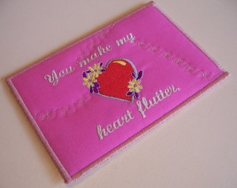 Quilted Fabric Postcards - Fabric Art Post Cards - Mini Quilt Valentines Day Card - Artists Trading cards